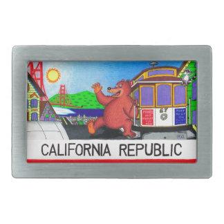San Francisco California Bear Flag Rectangular Belt Buckle