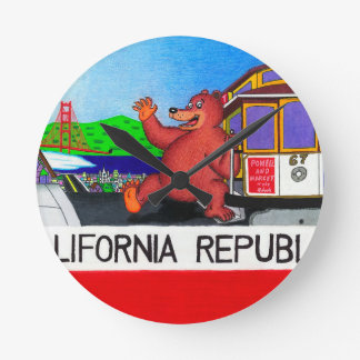San Francisco California Bear Flag Round Clock