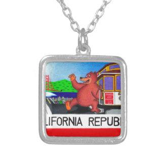 San Francisco California Bear Flag Silver Plated Necklace