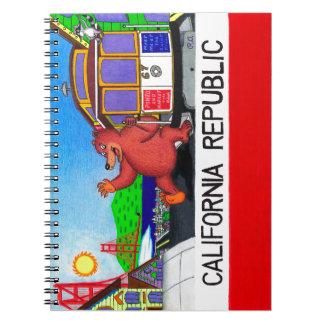 San Francisco California Bear Flag Spiral Notebooks