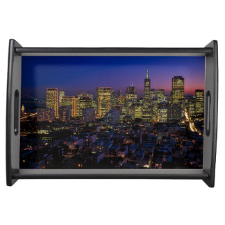 San Francisco California downtown cityscape Serving Tray