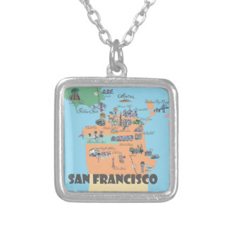 San Francisco California Map Silver Plated Necklace