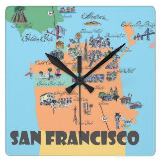 San Francisco California Map Square Wall Clock