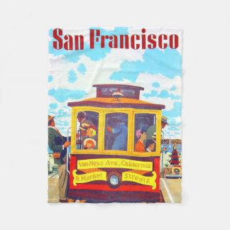 San Francisco California Trolley Car Golden Gate Fleece Blanket