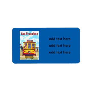 San Francisco California Trolley Car Golden Gate Label