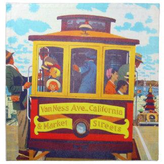 San Francisco California Trolley Car Golden Gate Napkins