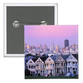 San Francisco, California. View of Victorian 2 Inch Square Button