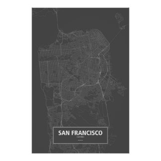 San Francisco, California (white on black) Poster