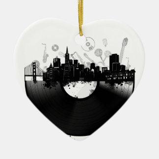 san francisco city skyline vinyl white ceramic ornament