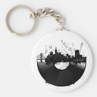 san francisco city skyline vinyl white keychain