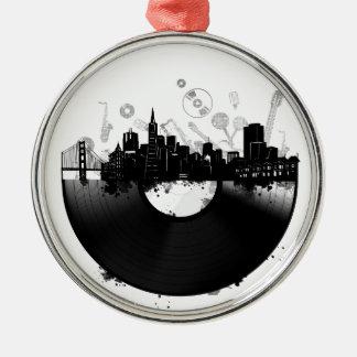 san francisco city skyline vinyl white metal ornament