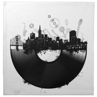 san francisco city skyline vinyl white napkin