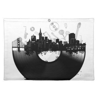 san francisco city skyline vinyl white placemat