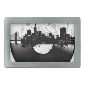 san francisco city skyline vinyl white rectangular belt buckle