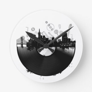 san francisco city skyline vinyl white round clock
