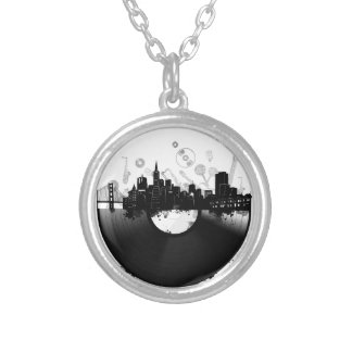 san francisco city skyline vinyl white silver plated necklace