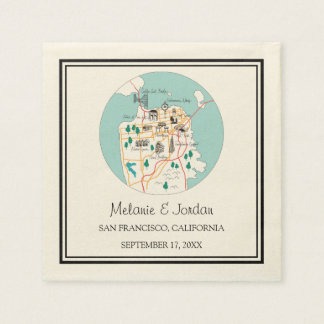 San Francisco Destination Wedding Paper Napkins