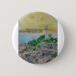 San Francisco Dusk Sunset Over Coit Tower 2 Inch Round Button