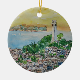 San Francisco Dusk Sunset Over Coit Tower Ceramic Ornament