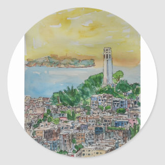 San Francisco Dusk Sunset Over Coit Tower Classic Round Sticker