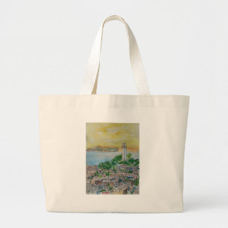 San Francisco Dusk Sunset Over Coit Tower Large Tote Bag