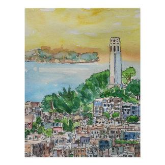San Francisco Dusk Sunset Over Coit Tower Letterhead