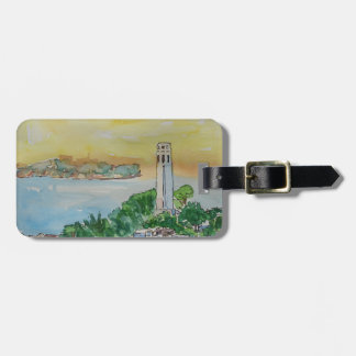 San Francisco Dusk Sunset Over Coit Tower Luggage Tag