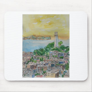 San Francisco Dusk Sunset Over Coit Tower Mouse Pad