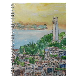 San Francisco Dusk Sunset Over Coit Tower Notebooks