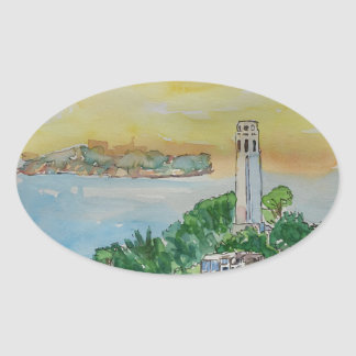 San Francisco Dusk Sunset Over Coit Tower Oval Sticker