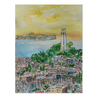 San Francisco Dusk Sunset Over Coit Tower Postcard