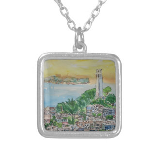 San Francisco Dusk Sunset Over Coit Tower Silver Plated Necklace