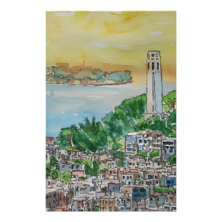 San Francisco Dusk Sunset Over Coit Tower Stationery