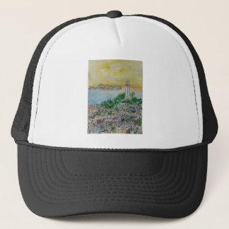 San Francisco Dusk Sunset Over Coit Tower Trucker Hat