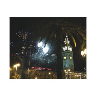 San Francisco Ferry Building Fireworks Canvas