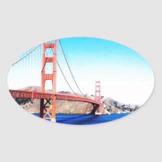 San Francisco Golden Gate Bridge California Oval Sticker