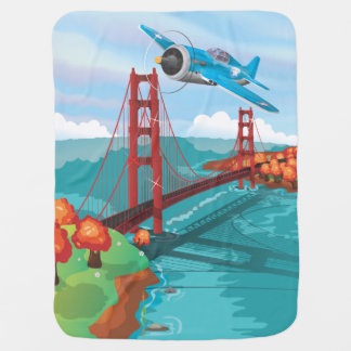San Francisco Golden Gate Bridge fly past Baby Blanket