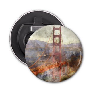 San Francisco Golden Gate Bridge in California Button Bottle Opener