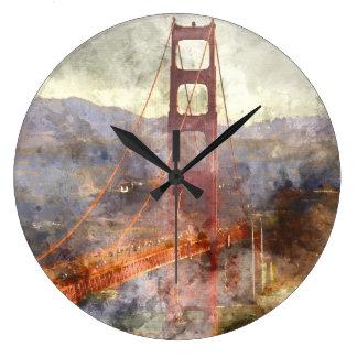 San Francisco Golden Gate Bridge in California Large Clock
