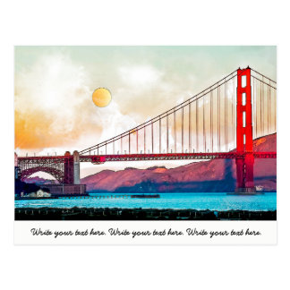 San Francisco Golden Gate Bridge. USA, America Postcard