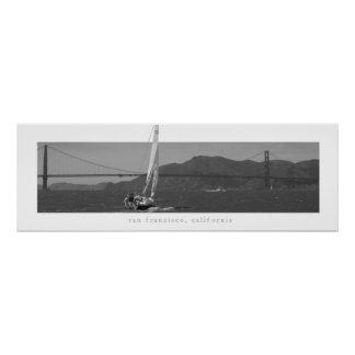 San Francisco - Golden Gate Bridge with Sailboat Poster