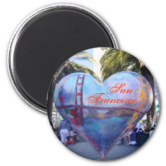 San Francisco Heart 2 Inch Round Magnet