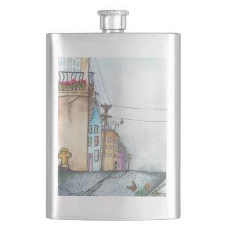 San Francisco Neighborhood Watercolor Hip Flask