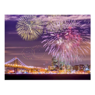 San Francisco New Year Fireworks Postcard