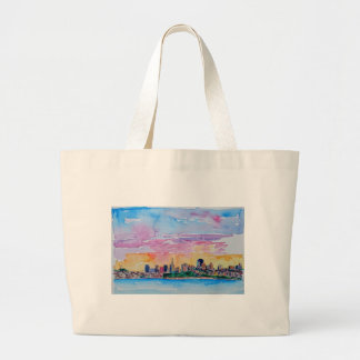 San Francisco of the dawn sunset Large Tote Bag