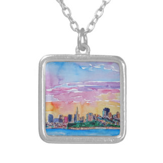 San Francisco of the dawn sunset Silver Plated Necklace