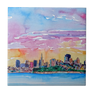 San Francisco of the dawn sunset Tile