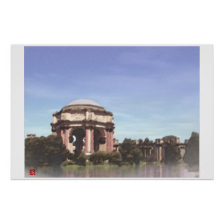 San Francisco-Palace Fine Arts Digital Watercolor Poster