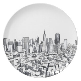 San Francisco SF Citiscape Photograph Party Plate