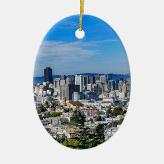 San Francisco Skyline Ceramic Oval Ornament